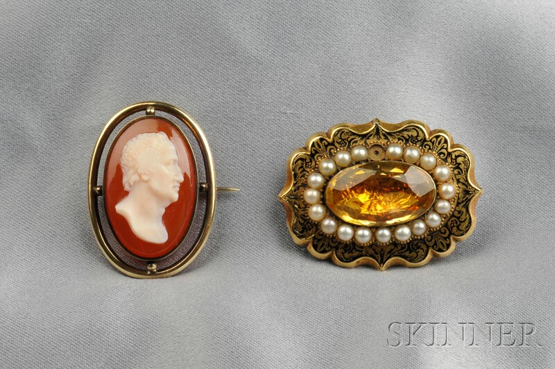 Two Antique Gold Gem-set Brooches