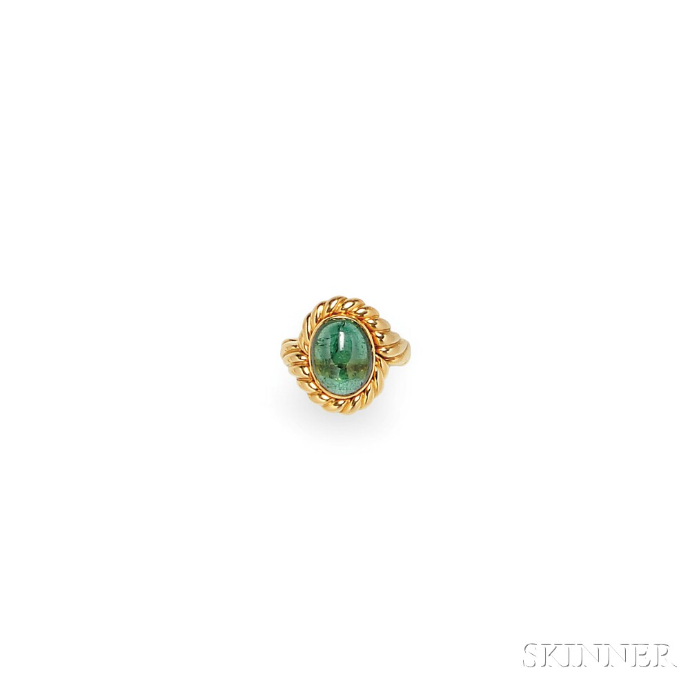 18kt Gold and Green Tourmaline Ring