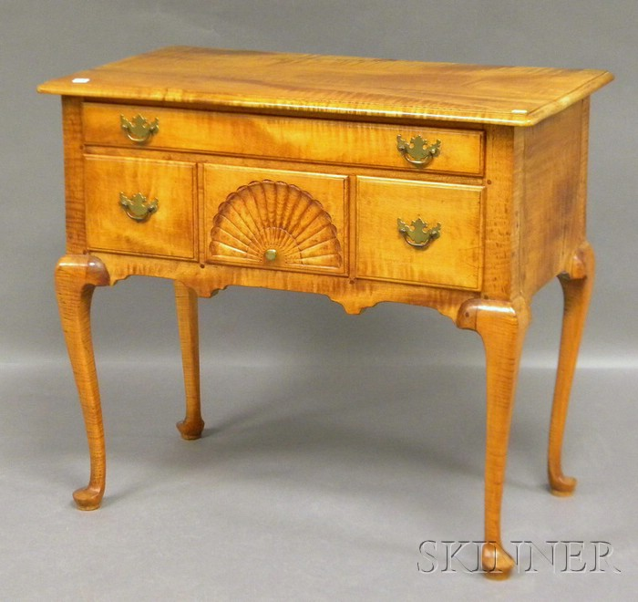 Queen Anne-style Carved Tiger Maple Lowboy