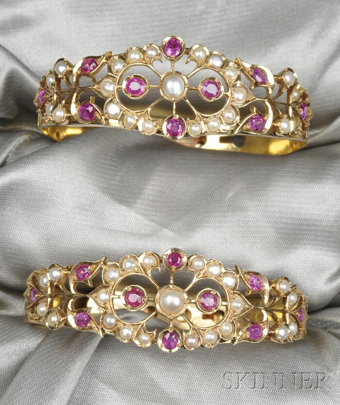 Two 14kt Gold, Ruby, and Cultured Pearl Bracelets