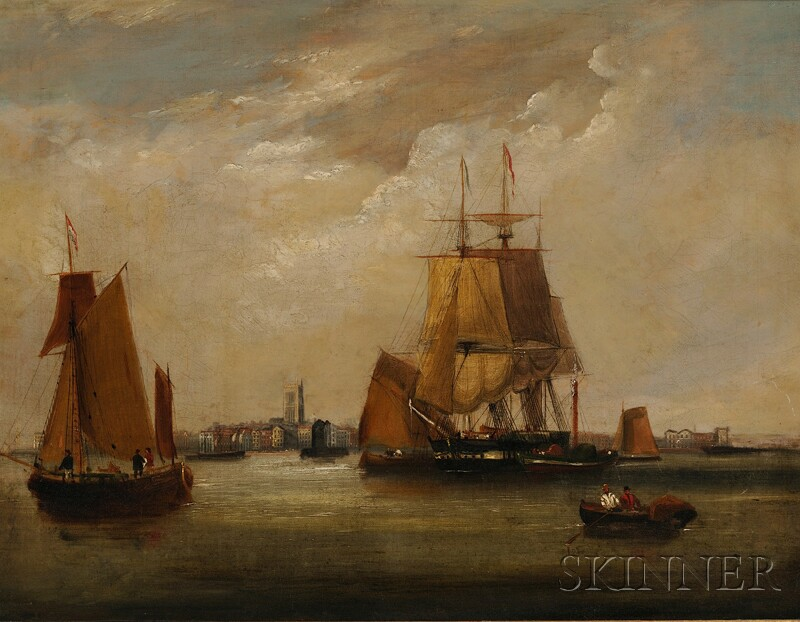 Attributed to John Wilson Carmichael (British, 1800-1868)      View of Ships in a Harbor