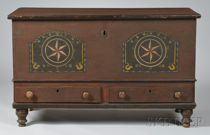 Pennsylvania Polychrome Paint-decorated Poplar Dovetail-constructed Blanket Chest   over Two Short Drawers