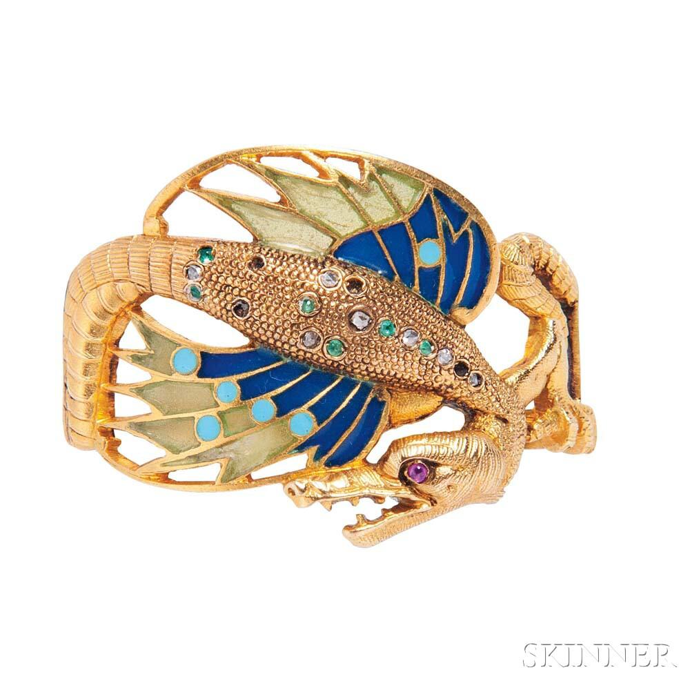 Art Nouveau Gold and Plique-a-jour Enamel Scarf Pin