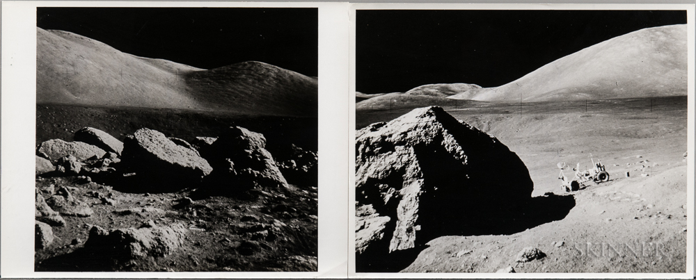 Apollo 17, Lunar Roving Vehicle (LRV) Parked By a Boulder and Boulder Field at Taurus-Littrow (NASA AS17-140-21493 and AS17-145-2...