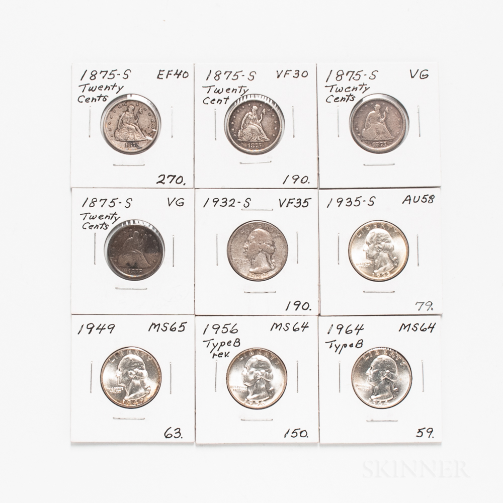 Four 20 Cents and Five Washington Quarters