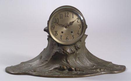 Seth Thomas/Gorham & Co. Founders Patinated Cast Bronze Cresting Ocean Wave Mantel   Clock