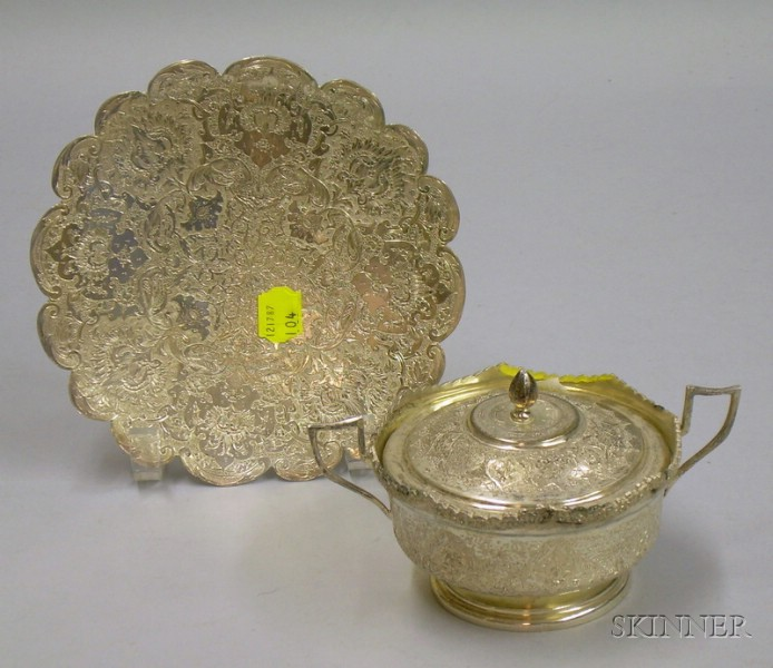 Iranian Silver Covered Bowl and Plate.