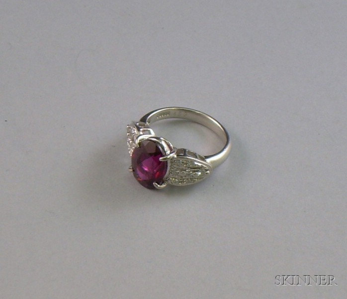 Platinum, Diamond, and Rhodolite Garnet Ring, size 7.