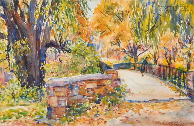 Charles Peter Demetropoulos (American, 1912-1976)      Through the Park, Possibly a View of the Fenway, Boston