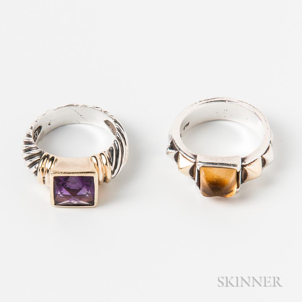 David Yurman Sterling Silver, 14kt Gold, and Amethyst Ring and a Sterling Silver, 18kt Gold, and Citrine Ring
