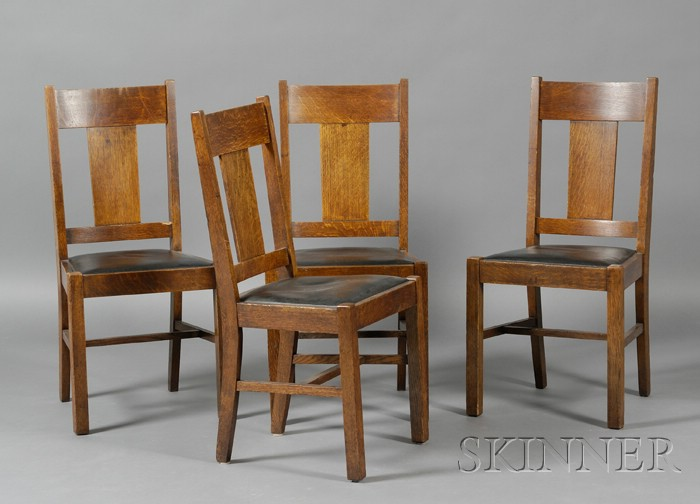Set Of Four Michigan Chair Co Arts Crafts Oak Dining Chairs Sale Number 2511 Lot Number 829 Skinner Auctioneers