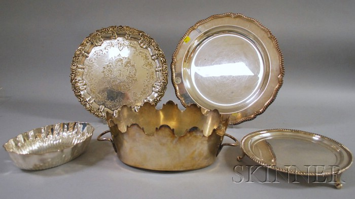 Five Silver-plated Tableware Items