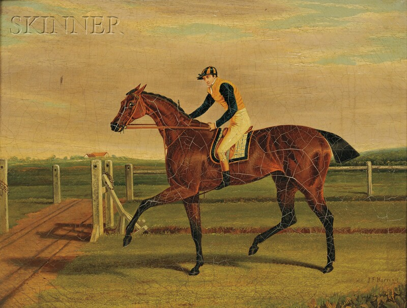 """Attributed to John Frederick Herring the Elder (British, 1795-1865)      """"The Duchess,"""" the Winner of the Great St. Leger at Doncaster"""