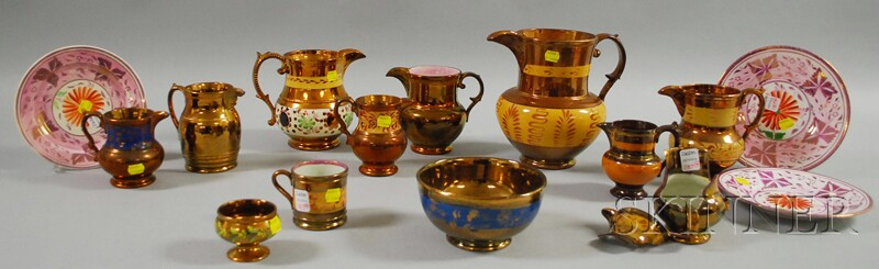 Collection of English Copper Lustre Tableware