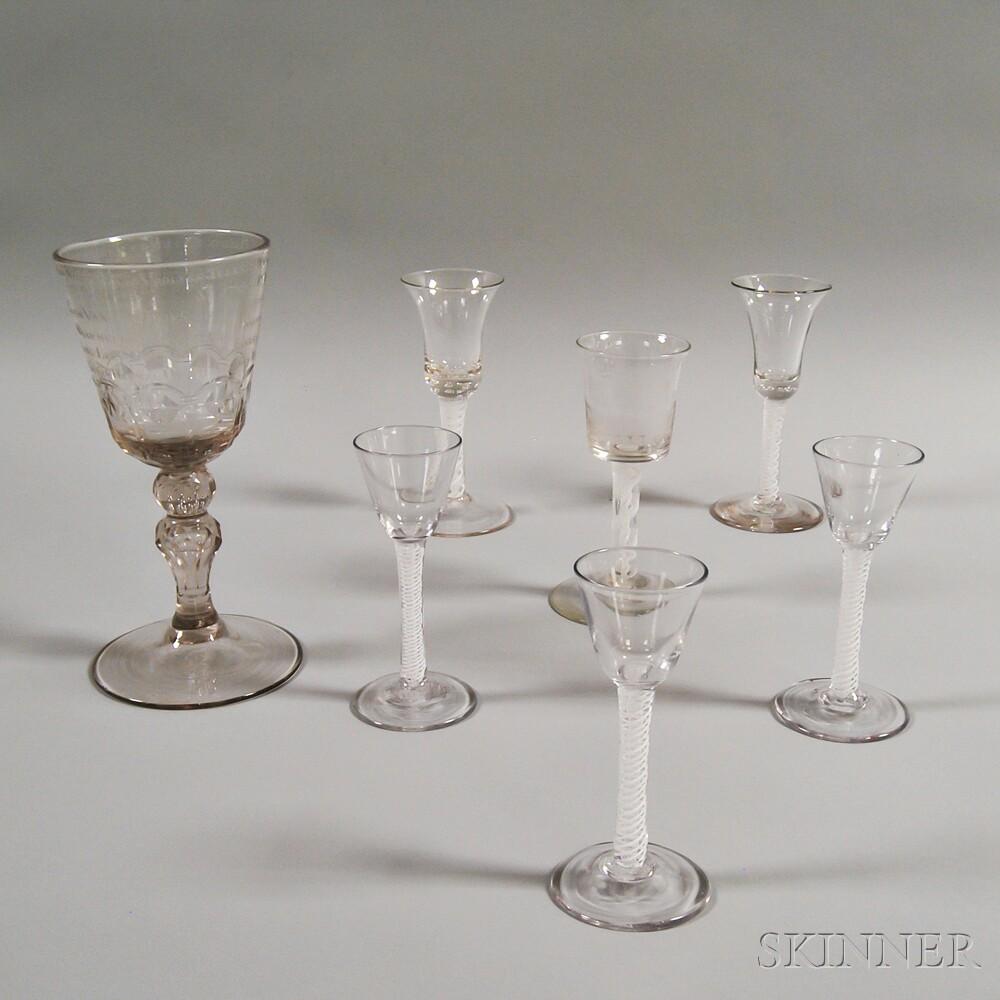 Seven Colorless Glass Stemware Items