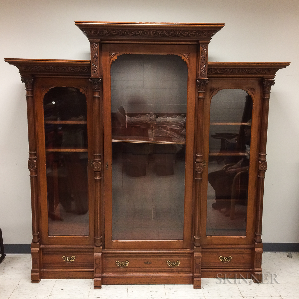 Large Neoclassical-style Carved and Glazed Mahogany Bookcase