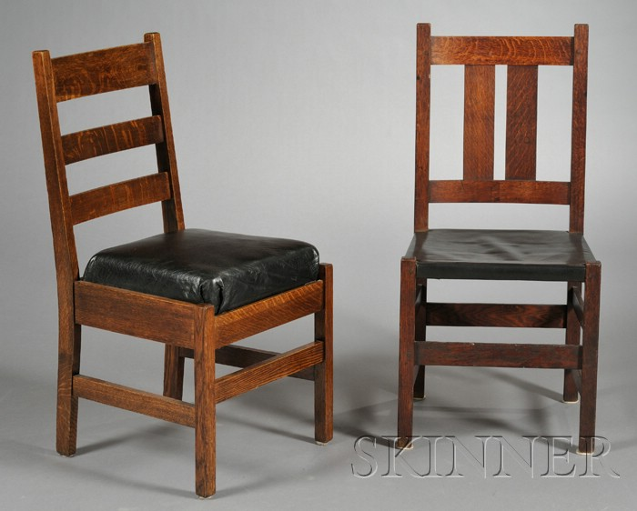 Two Arts & Crafts Oak Dining Chairs