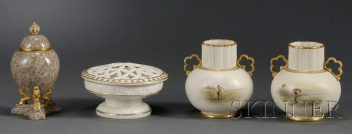 Four Grainger Worcester Porcelain Items