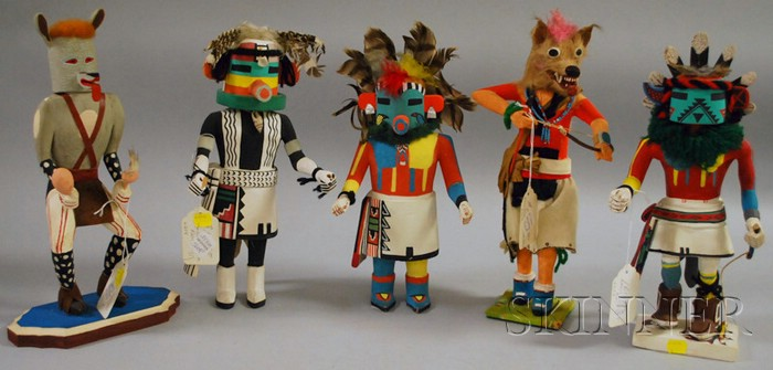 Five Contemporary Painted Wood Kachina Dolls