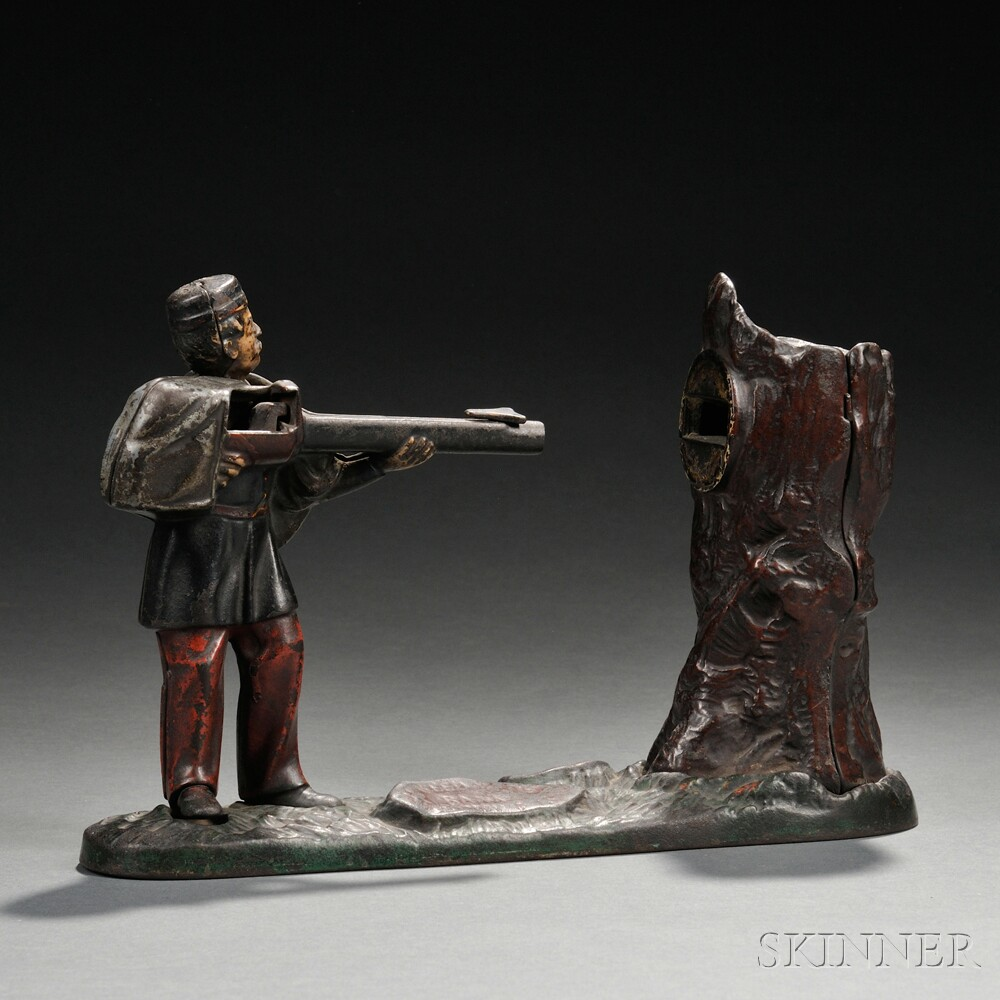 """Painted Cast Iron Mechanical """"Grenadier"""" Bank"""