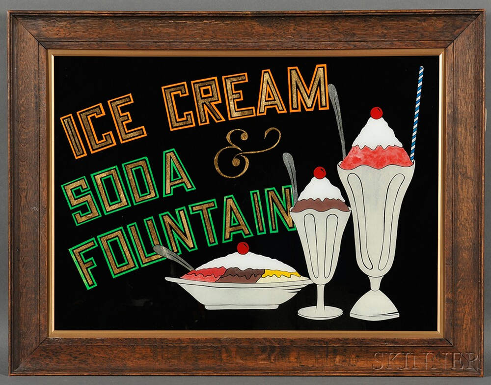 "Reverse-painted ""ICE CREAM & SODA FOUNTAIN"" Sign"
