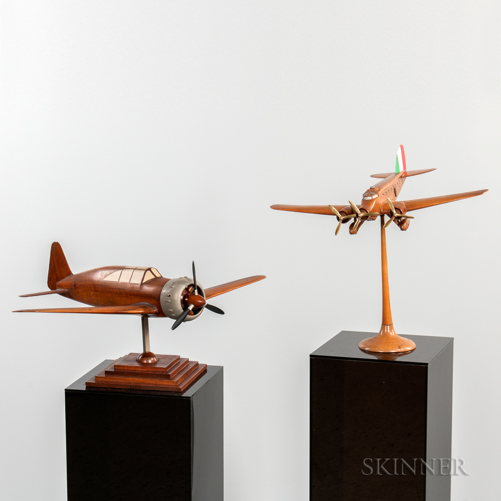 Two Wood Plane Aviation Models with Display Plinths