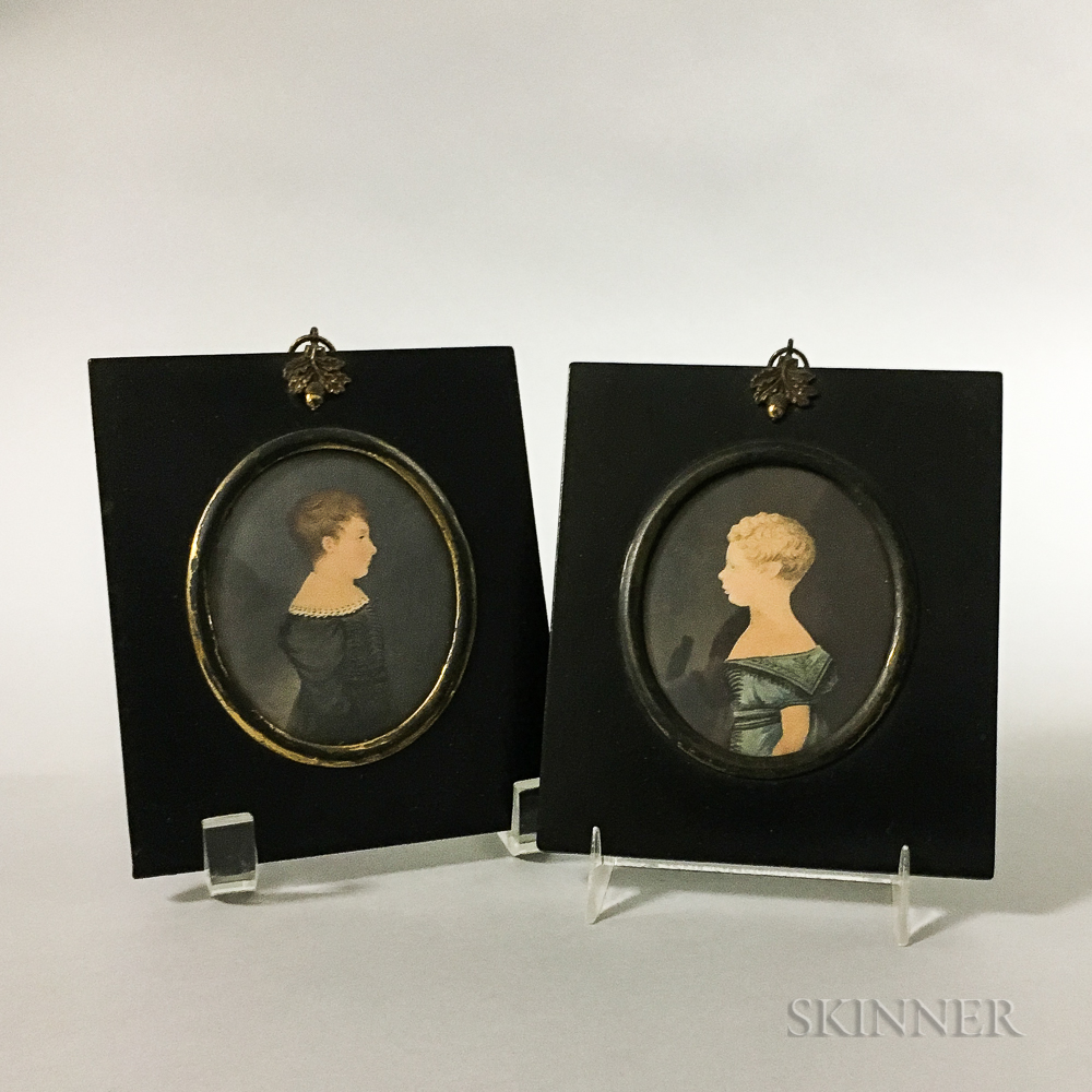 Pair of Framed Watercolor Portrait Miniatures