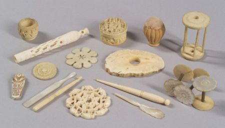 Approximately Thirty Ivory and Mother-of Pearl Sewing Accessories