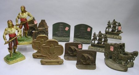 Collection of Seven Pairs of Bookends