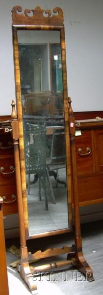 Queen Anne Style Walnut and Burl Veneer Cheval Mirror.