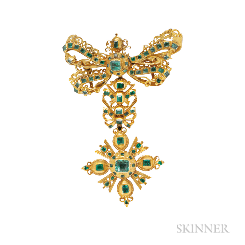 Antique Gold and Emerald Bow Brooch