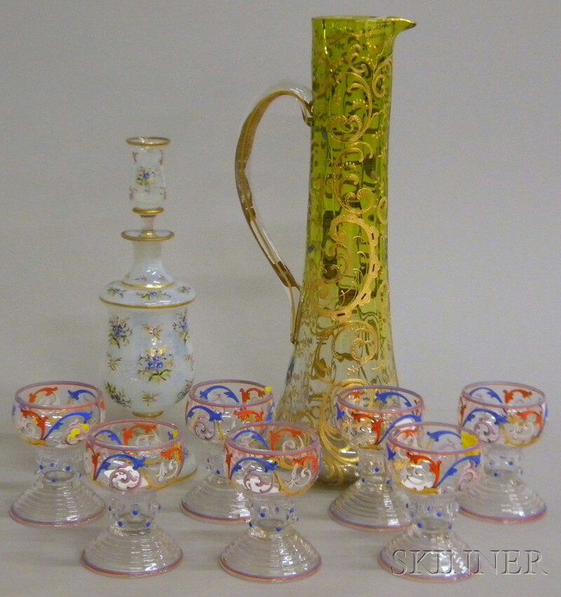 Nine Pieces of Bohemian Enamel-decorated Colored and Colorless Art Glass