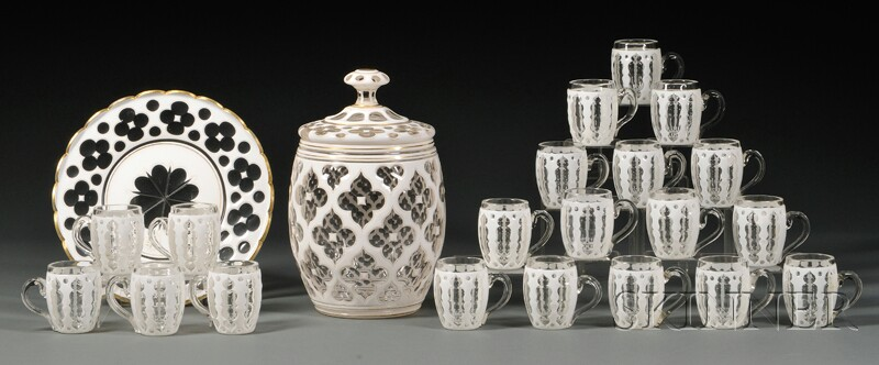 White Overlay Punch Set with Underplate, Bowl, and Cups