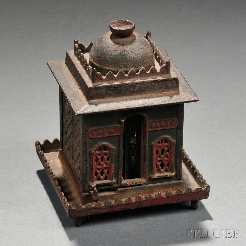 """Painted Cast Iron Mechanical """"New Bank"""" Bank"""