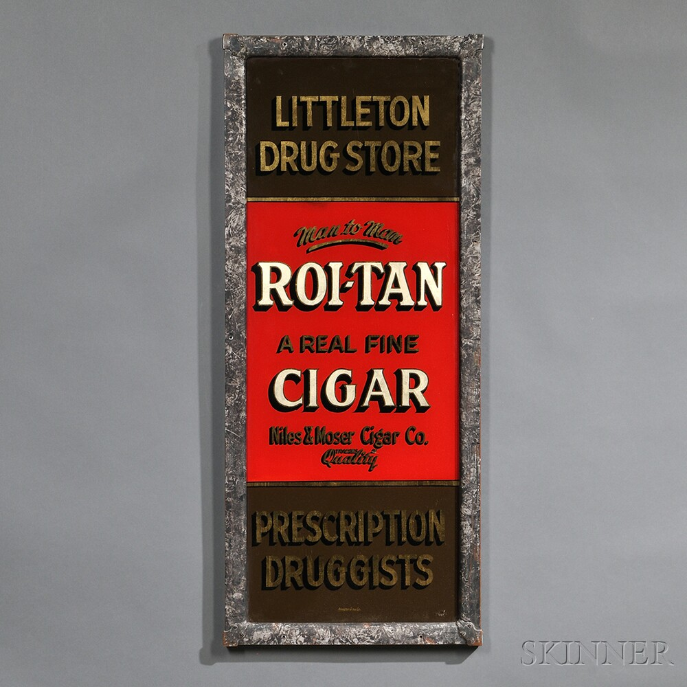 "Reverse-painted ""Littleton Drug Store"" Sign"