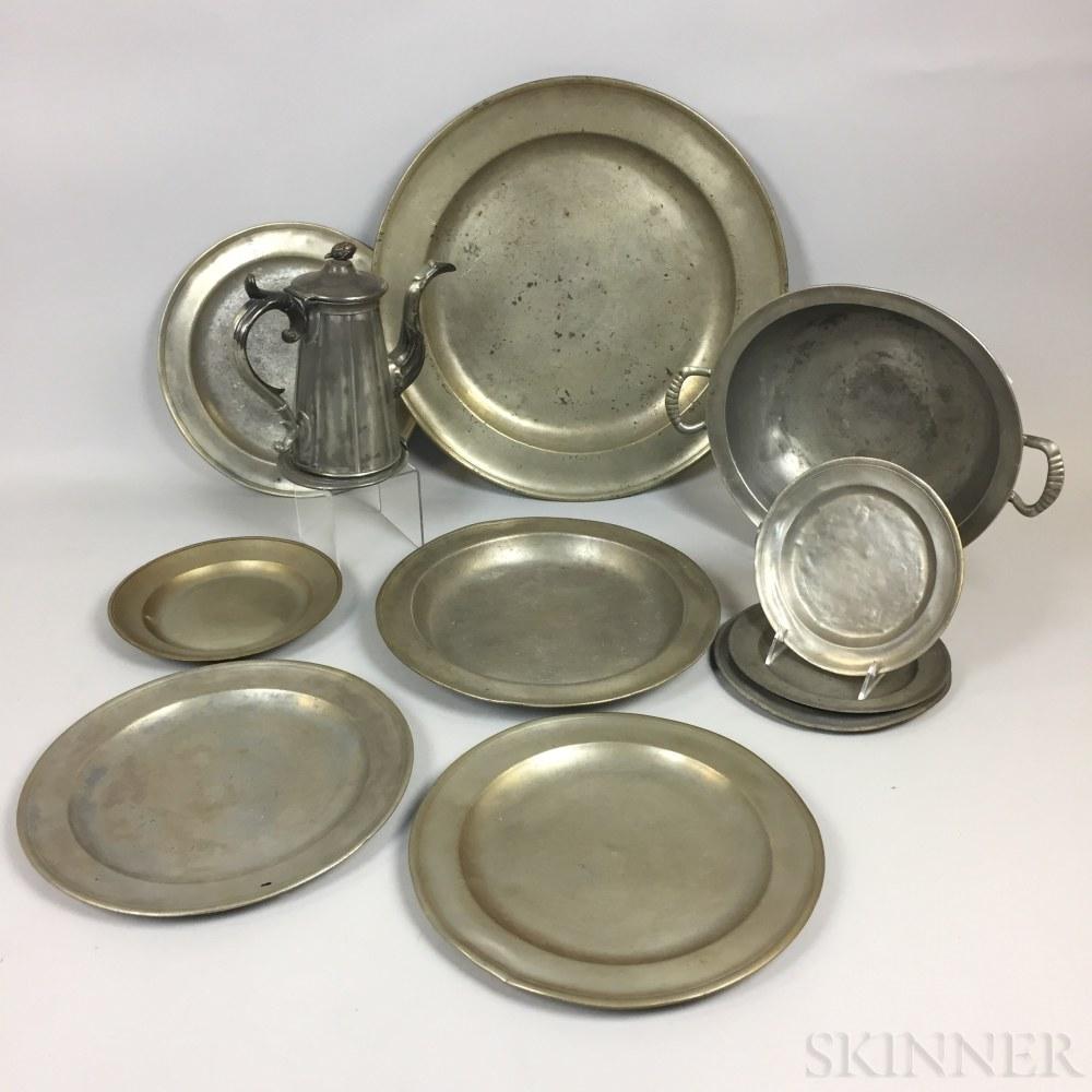 Twelve Pewter Tableware Items.     Estimate $200-250