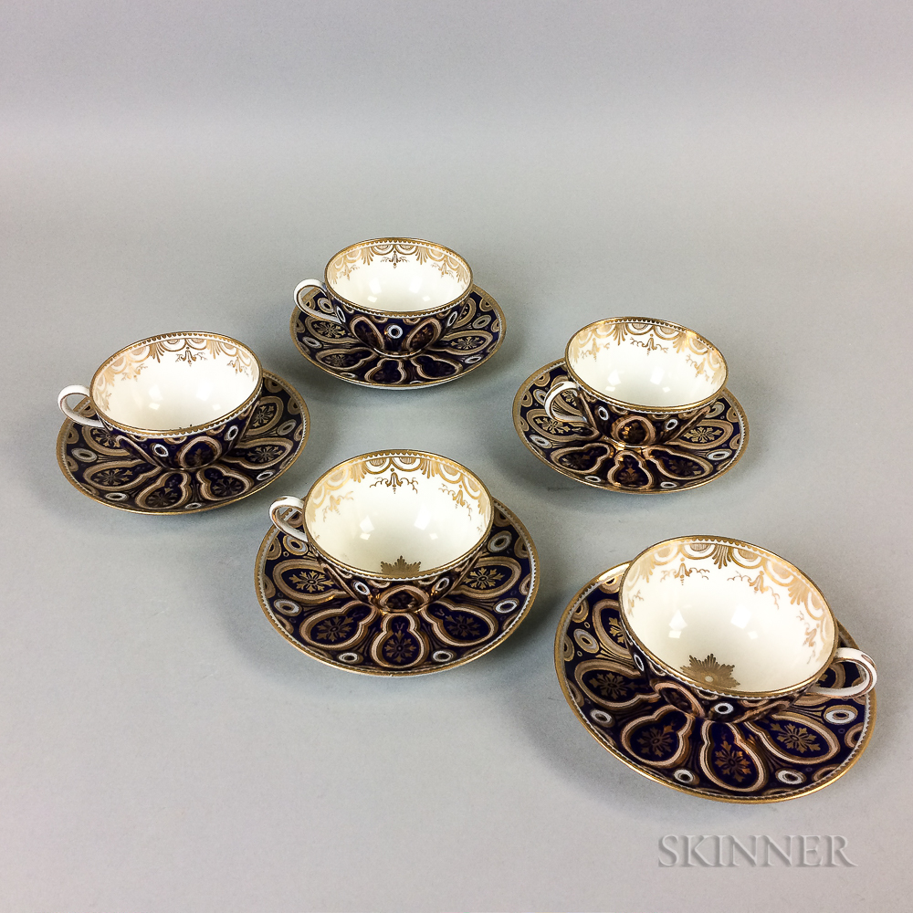 Set of Five Cauldon Porcelain Teacups and Saucers.     Estimate $20-200