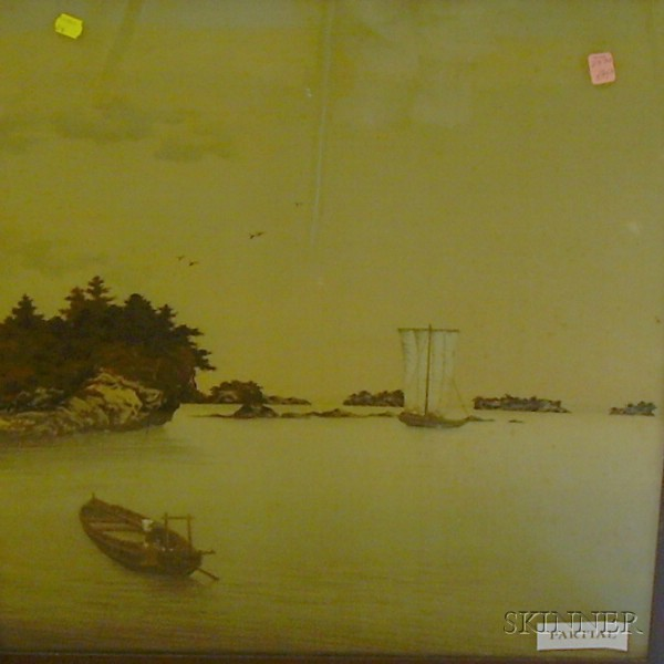 Two Framed Japanese Mixed Media with Woven Silk Landscapes