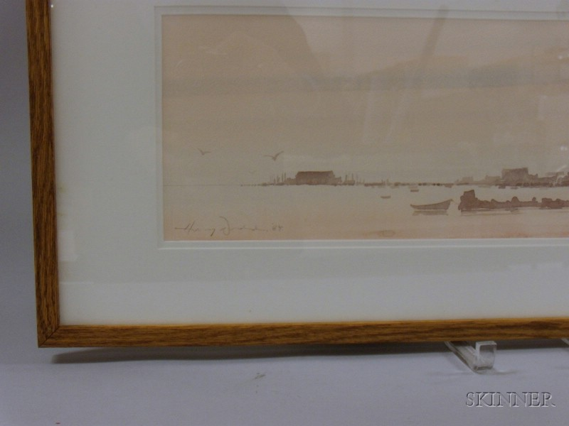 Framed Watercolor and Wash on Paper/board View of Provincetown Harbor by      Harvey Dodd (American, 20th Century)