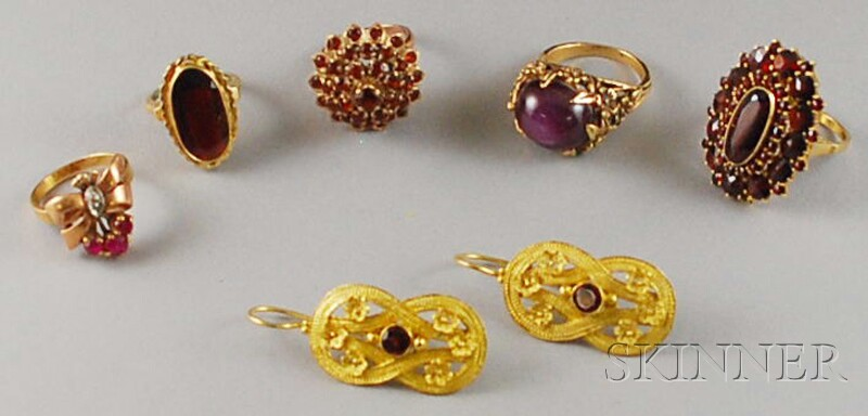 Group of Gold and Garnet Jewelry