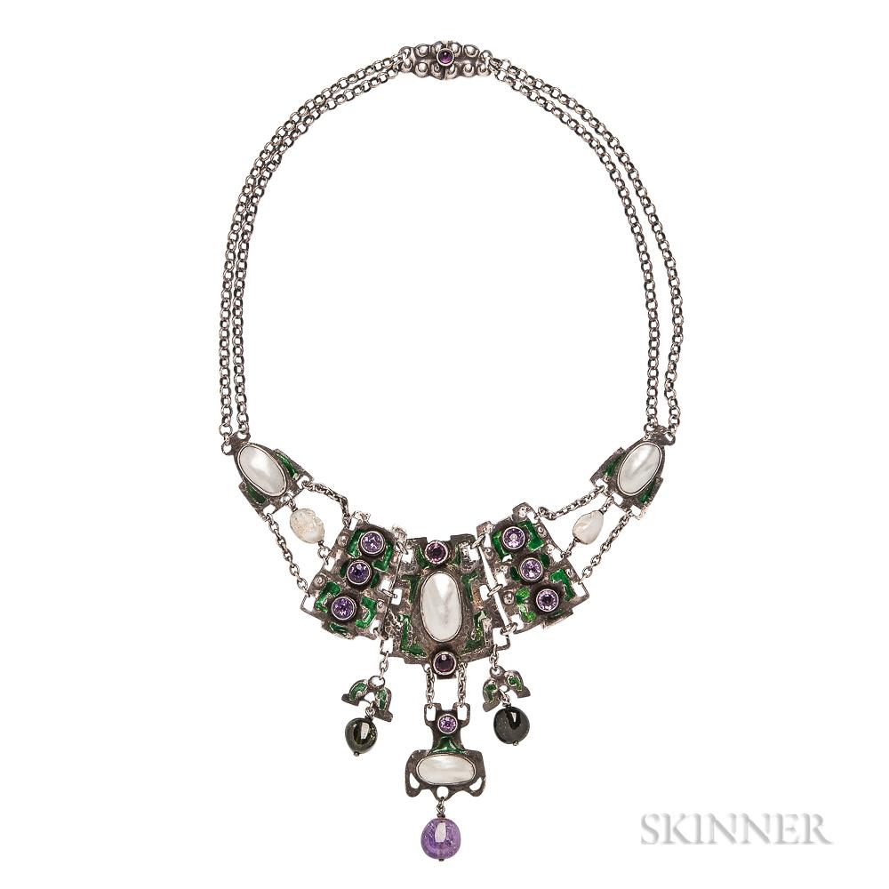 Arts and Crafts Silver Gem-set Necklace