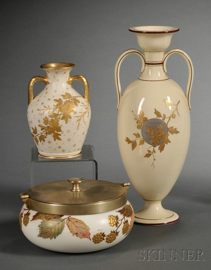 Three Wedgwood Ivory Ground Items