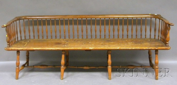 Windsor Ash and Pine Continous-arm Spindle-back Bench