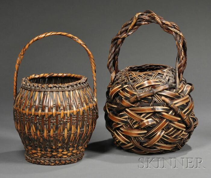 Two Japanese Ikebana Flower Arranging Baskets