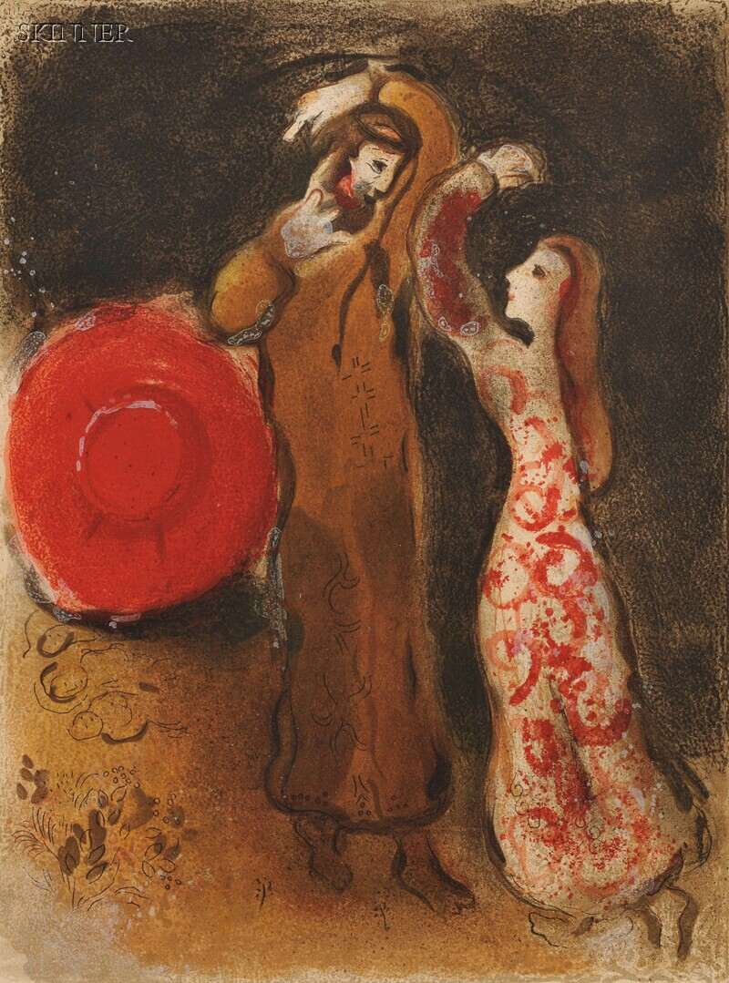 Marc Chagall (French/Russian, 1887-1985)      The Meeting of Ruth and Boaz