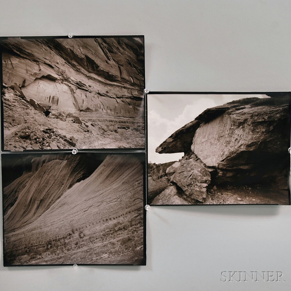 Linda Connor (American, b. 1944)      Three Images of Petroglyphs:  Great Valley, Horseshoe Canyon, Utah