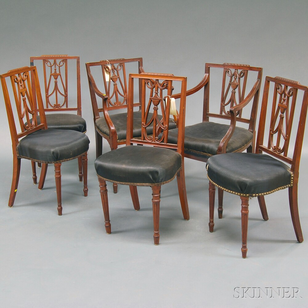 Set of Six Federal Carved Mahogany Dining Chairs