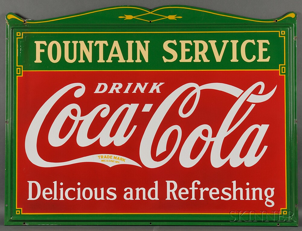 "Large Enamel-decorated ""FOUNTAIN SERVICE"" Coca-Cola Advertising Sign"