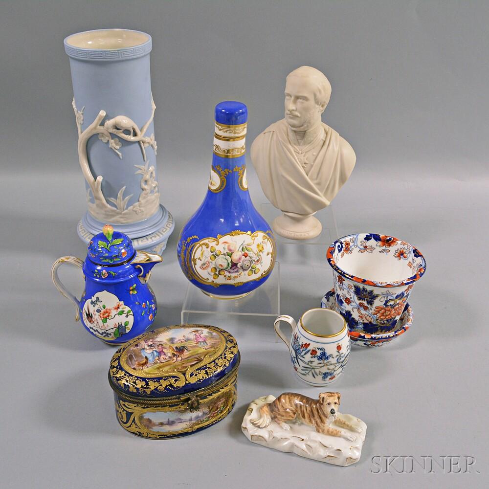 Nine Assorted European Porcelain and Ceramic Items