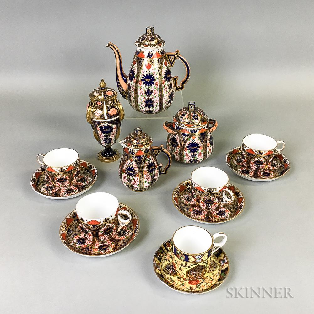 Twelve-piece Crown Derby Imari-palette Porcelain Tea Set